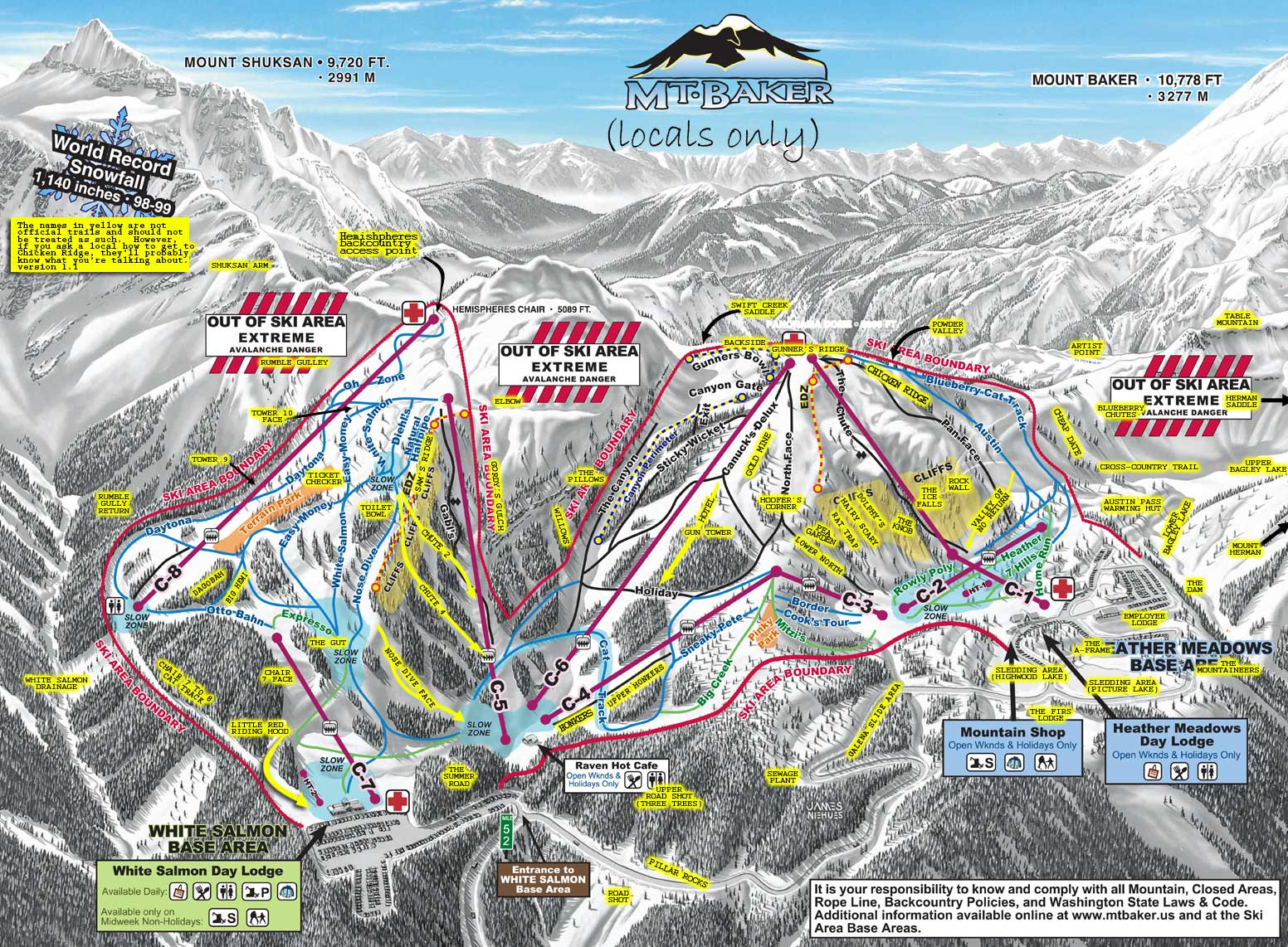 Mt. Baker Ski Area Locals Map